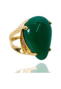 Anel Pedra Gota Semijoia Banho De Ouro 18K Jade Verde Natural Com Zircônias Laterais Multicolorido