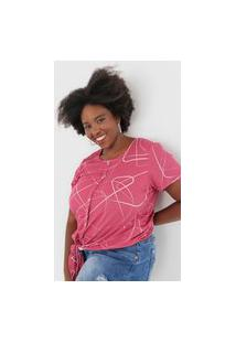 Blusa Cativa Plus Estampada Rosa