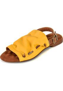 Rasteira Avarca Scarpan Calçados Finos Em Couro Amarelo