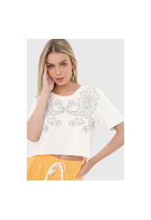Camiseta Cropped Lança Perfume Aplicação Off-White