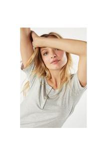 Blusa Canelado Mistura Modal Mangas Curtas - Cinza G