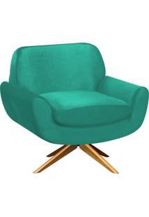 Poltrona D'Rossi Decorativa Estrela Suede Verde Tiffany Com Base Giratória De Madeira