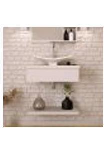 Conjunto Para Banheiro Bancada Com Cuba F44 Folha E Prateleira City 605 Branco Chess