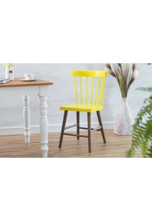 Cadeira Para Cozinha Folk Verniz Capuccino E Amarelo 45X46X83Cm