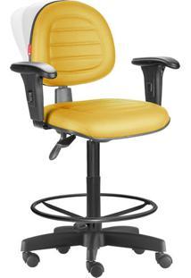 Cadeira Caixa Alta Ergonômica Nr17 Costura Amarelo Escuro