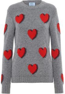 Prada Suéter Com Estampa De Coração - Cinza