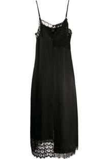 Pinko Slip Dress Com Acabamento Em Renda - Preto
