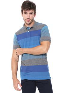 Camisa Polo Wrangler Reta Listrada Cinza/Azul