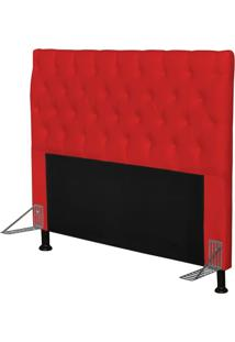 Cabeceira Cama Box Casal 195Cm Cristal Corino Vermelho - Js Móveis