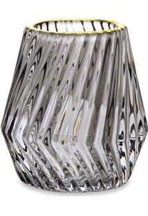 Porta Velas Texturizado- Cinza & Dourado- 8Xø8,5Cm