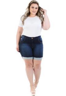 Shorts Feminino Jeans Confidencial Extra Knit Barra Dobrada Plus Size - Feminino-Azul