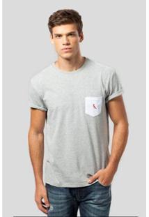 Camiseta Ms Bolso Br Pica-Pau Bordado Reserva Masculina - Masculino-Cinza