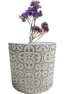 Vaso De Cerâmica Branco E Dourado Royal Urban Home Branco