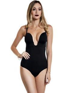 Body Modelador Decote Profundo Bojo Feminino - Feminino-Preto