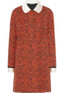 Miu Miu Vestido Mini Animal Print De Seda - Vermelho