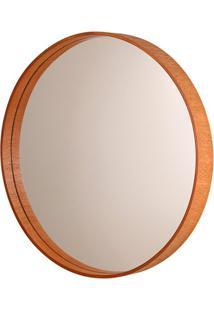 Espelho Redondo Com Moldura Em Madeira 55,5Cm Mogno