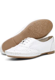 Sapato Oxford Casual Em Couro Yes Basic 15360 Branco
