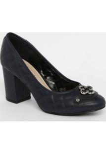 Sapato Tradicional Em Couro Matelass㪠- Azul Marinhocapodarte