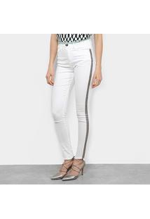 Calça Jeans Acostamento Skinny Barra Desfiada Feminina - Feminino-Off White