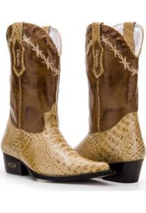 Bota Texana Country Capelli Jacaré Couro Bico Fino Masculina - Masculino-Creme