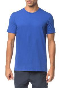 Camiseta Ck Swim Mc Etiqueta Manga - Azul Médio - P