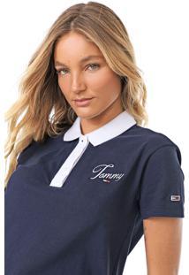 Camisa Polo Tommy Jeans Logo Azul-Marinho