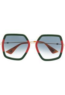 Gucci Eyewear Óculos De Sol Hexagonal Oversized - Verde