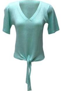 Blusa Pink Tricot Detalhe Em Nó Feminino - Feminino-Verde Claro
