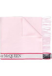 Alexander Mcqueen Cachecol De Lã Com Logo - Rosa