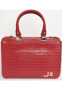 Bolsa Retangular Em Couro - Vermelha - 27X37X10Cmjorge Bischoff