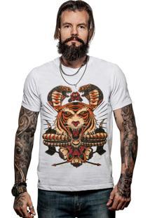Camiseta Caráter Tigre Tattoo Branca