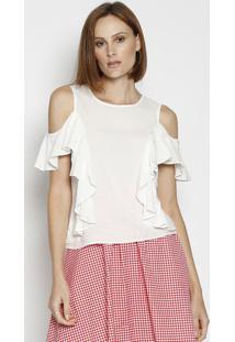 Blusa Com Ombros Vazados & Babados - Branca - Moiselmoisele