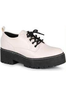 Sapato Feminina Oxford Tratorado Branco Branco