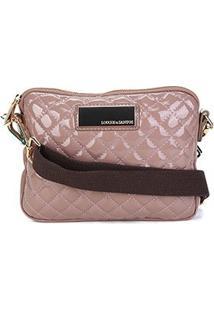 Bolsa Loucos & Santos Mini Bag Matalassê Plaquinha Feminina - Feminino-Marrom Claro