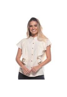 Blusa Feminina Fashion Linho Com Babados Gola Alta Off White P Off-White