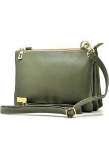 Bolsa Com Repartição Hendy Bag Verde Com Alça Transversal Feminina - Feminino-Verde Escuro