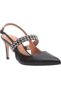 Sapato Chanel Com Aviamentos - Preto - Salto: 7,5Cmcecconello