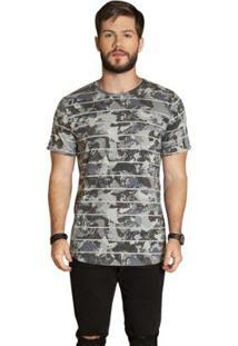 Camiseta Surf.Com Listras CamufladaMasculina - Masculino-Cinza