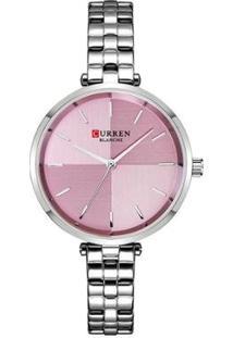 Relógio Curren Analógico C9043L Feminino - Feminino-Prata+Rosa