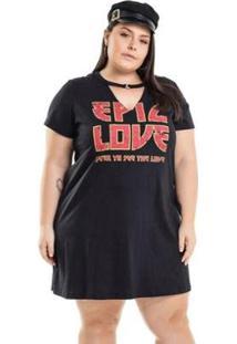 Vestido Meia Malha Com Gola Chocker Miss Masy Plus Size Feminino - Feminino-Preto