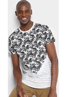 Camiseta Overcore Caveiras Listras Masculina - Masculino-Branco