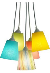 Luminária Pendente Colorida Crie Casa Infantil 5 Cúpulas Em Acrílico