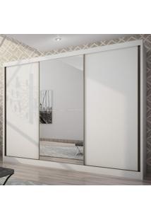 Guarda Roupa Casal 3 Portas Com Espelho Natus Móveis Novo Horizonte Branco