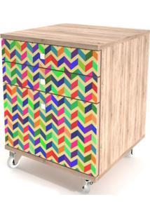 Criado Mudo Color 3 Gavetas Impressas Com Rodizios - 32934 Sun House