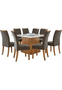 Sala De Jantar Nevada 130Cm Com 8 Cadeiras Rovere Velvet Chocolate