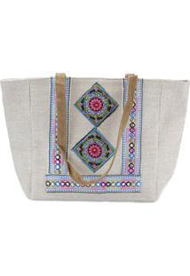 Bolsa Crisfael Acessórios Em Palha E Tecido Com Detalhe Em Costura Colorida Bege