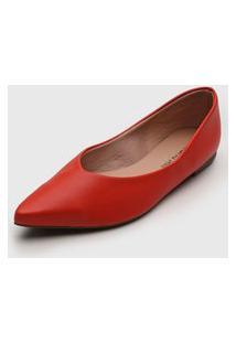 Sapatilha Dafiti Shoes Bico Fino Vermelha