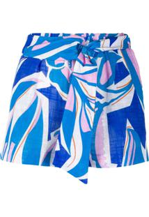 Emilio Pucci Bermuda Com Estampa Gráfica - Azul