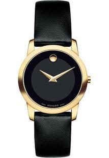 Relógio Movado Feminino Couro Preto - 606877