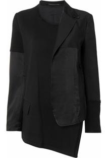 Y'S Deconstructed Asymmetric Jacket - Preto
